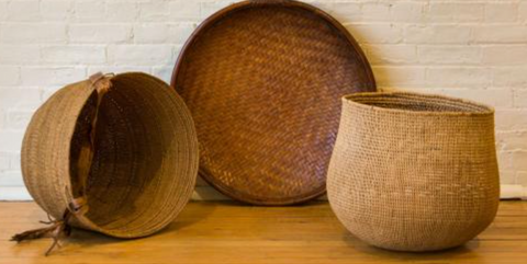 Two Grain Baskets and Winnowing Shallow Bowl