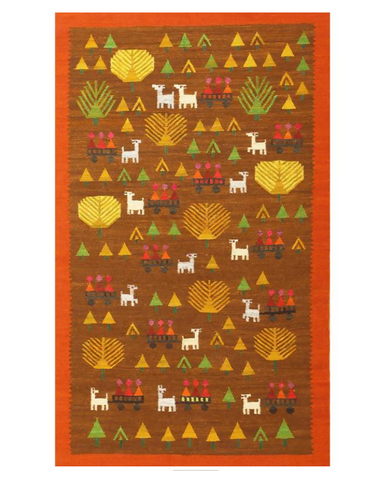 Swedish Kilim Folk Art Rug