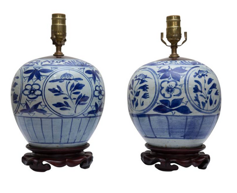 Blue and White Melon Jars as Lamps