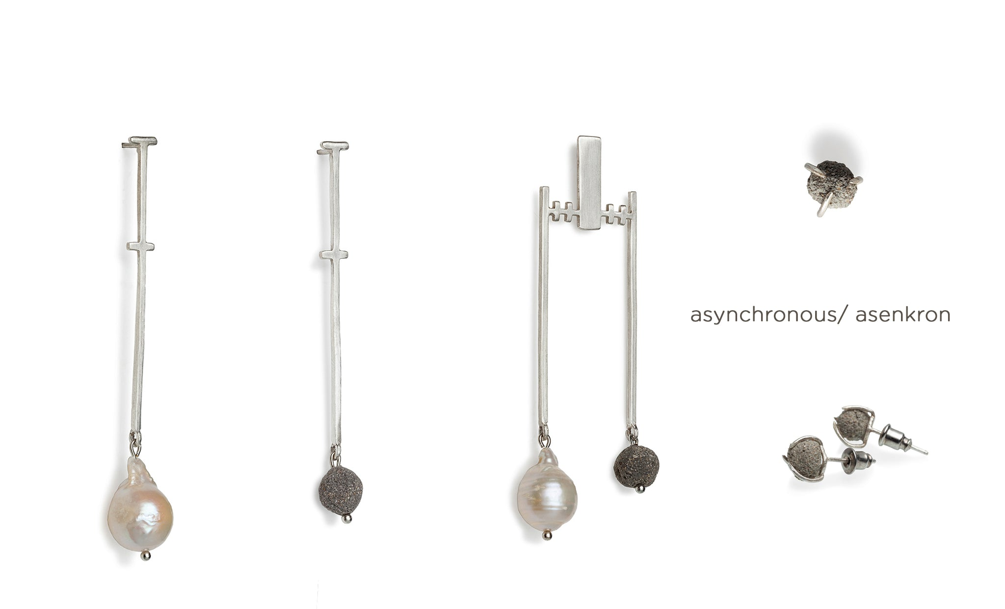 Asynchronous/ Pearl Earrings (a Piece)