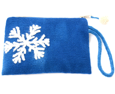 Marite now flakes embroidered pouch, blue