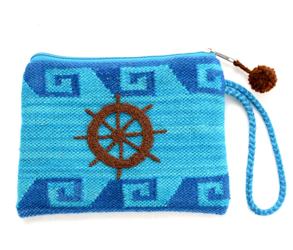Gyspy rose embroidered pouch, blue