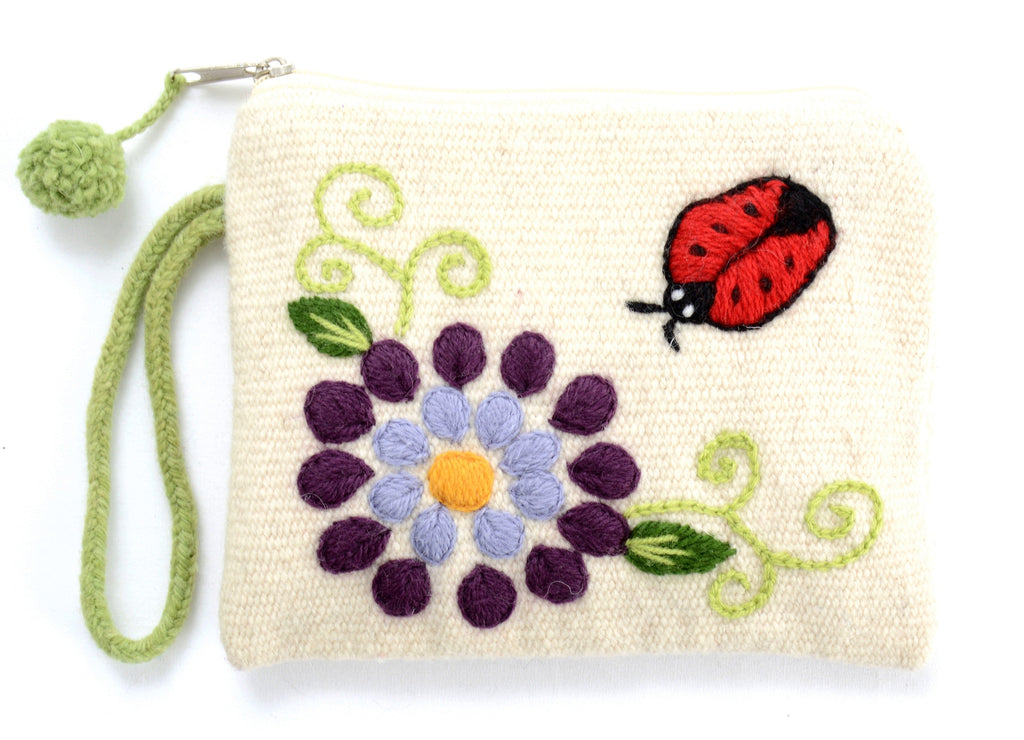 Andrea embroidered pouch, natural