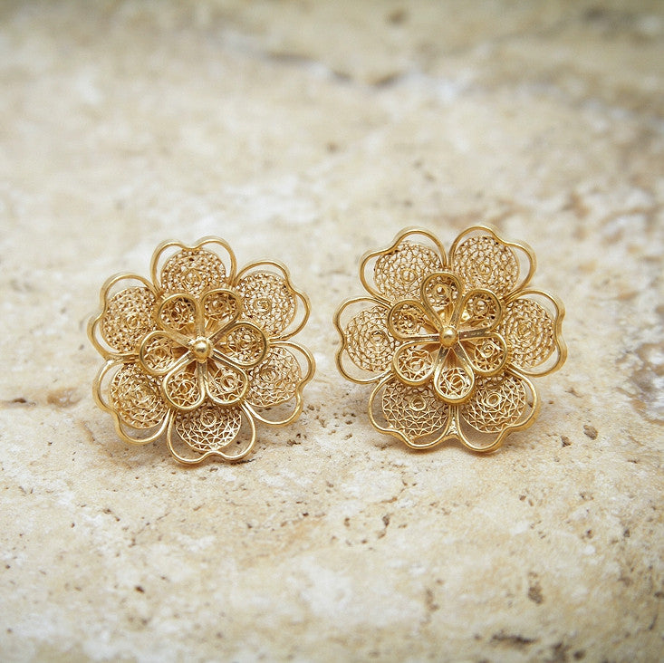 Floral filigree 21K gold plated earrings
