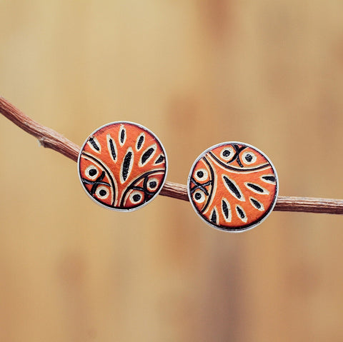 Buho hand carved owl earrings, post style, orange