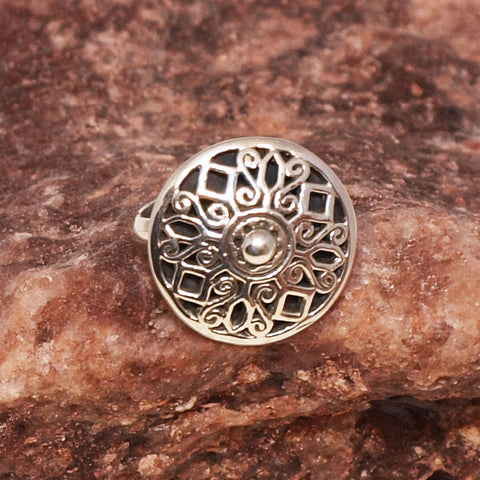 Glenda silver button ring
