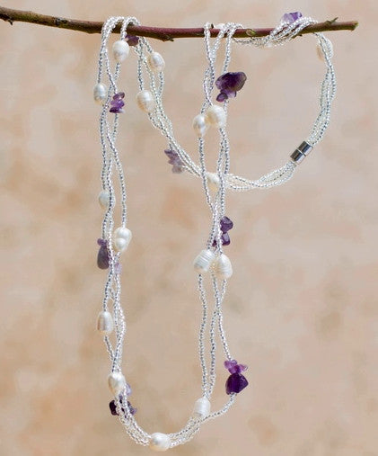 Erica freshwater pearl and lilac amethyst necklace