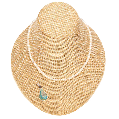 Mariana oval river pearl necklace with opal stone pendant