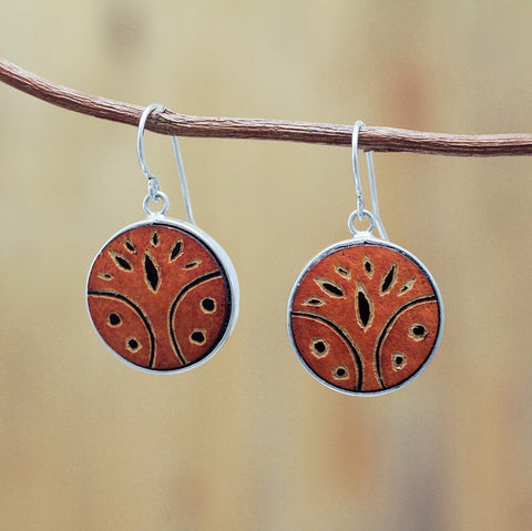 Boho hand carved owl earrings, orange