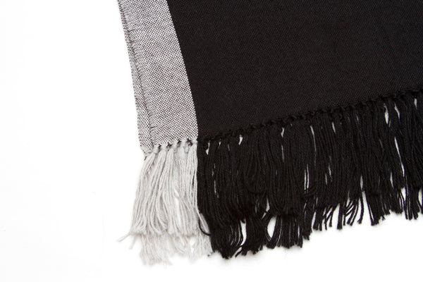 Ines handwoven alpaca blend shawl, black & gray