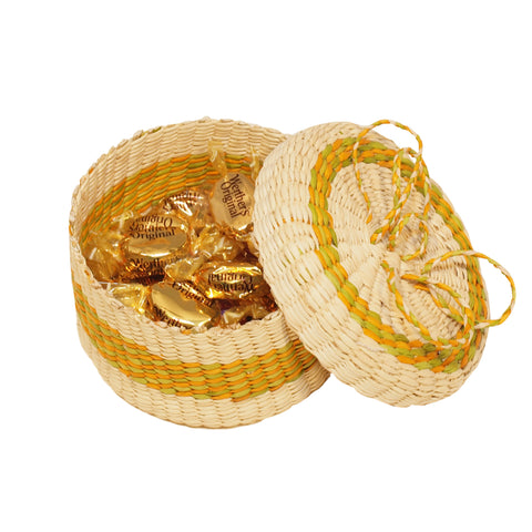 Raymi handmade straw basket green - Andean Hands