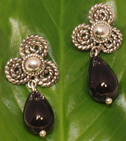 Clover onyx earring - Andean Hands