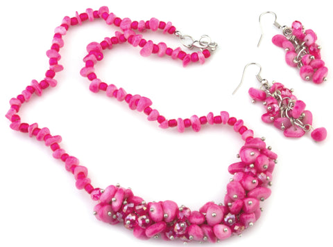Julie pink mother of pearl and Murano glass necklace