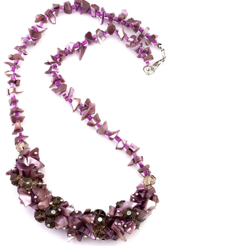 Mary purple mother of pearl and Murano glass necklace