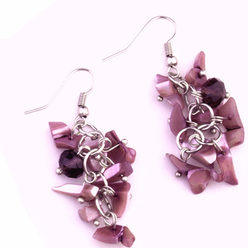 Mary purple mother of pearl and Murano glass earrings