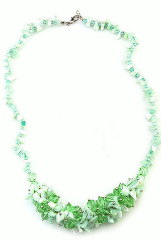 Suzanna sea foam mother of pearl with murano glass necklace