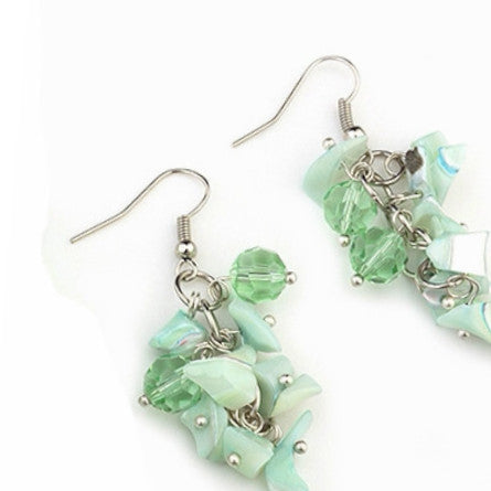 Suzanna sea foam mother of pearl and Murano glass earrings