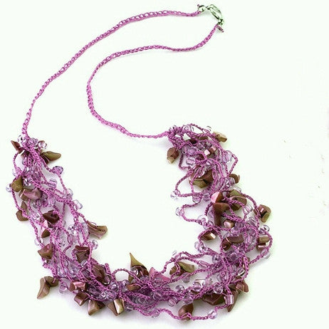 Miramar necklace hand crocheted, violet