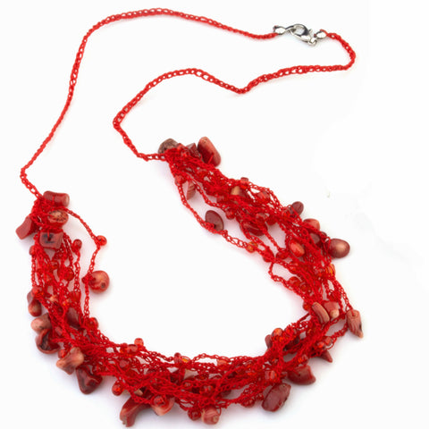 Kathy hand crocheted with red coral necklace