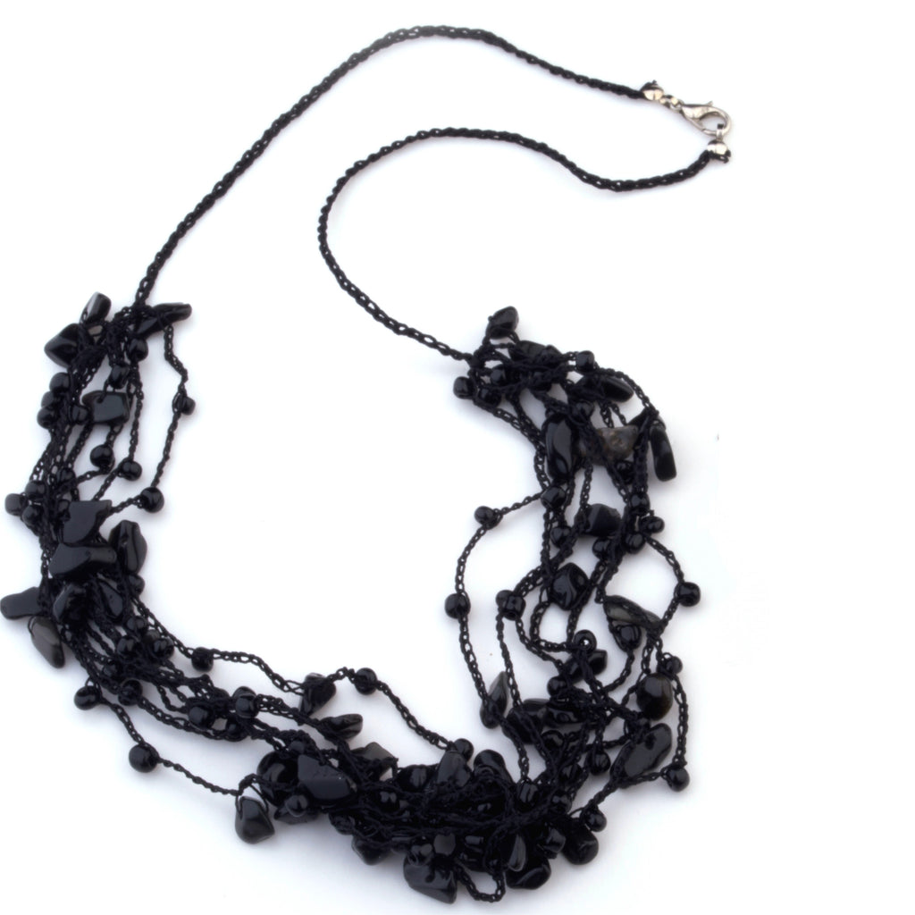 Sonja hand crocheted with black onyx necklace