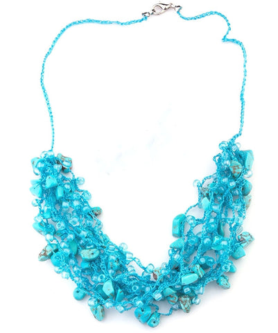 Carlotta hand crocheted with turquoise necklace