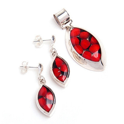 Jayne sterling silver and huayruro seed earrings & pendant set, red