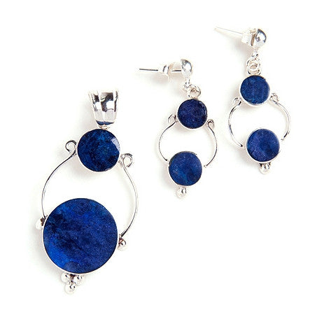 Cissy sterling silver and sodalite earrings & pendant set, blue