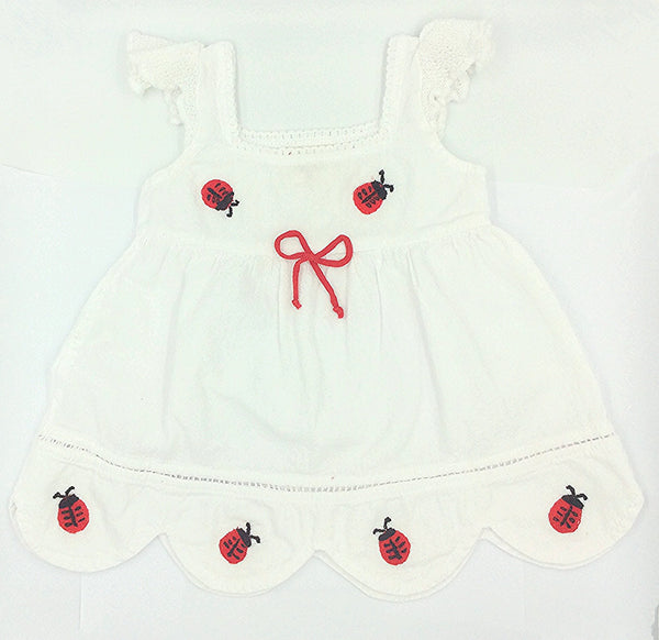 Penelope ladybug cotton dress,white