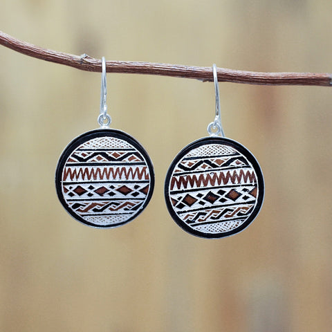 Cordillera blanca hand carved gourd earrings