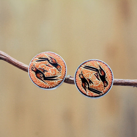 Elite hand carved post earrings, orange
