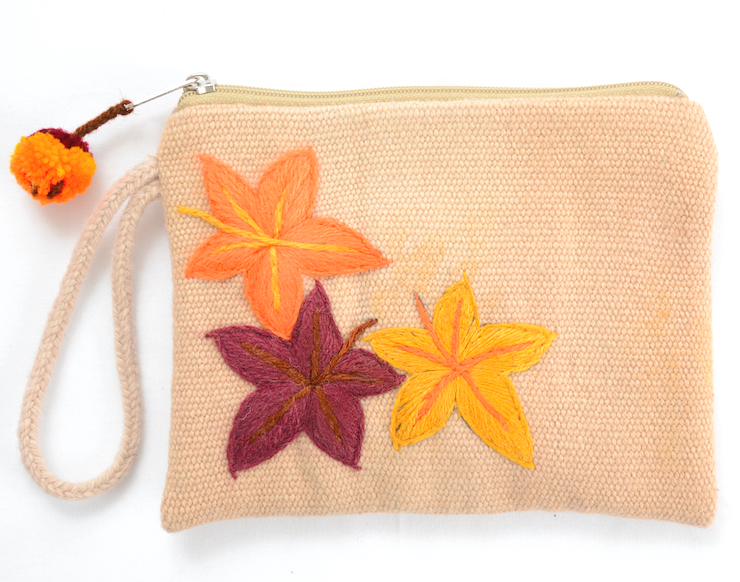 Valentina leaves embroidered pouch, beige