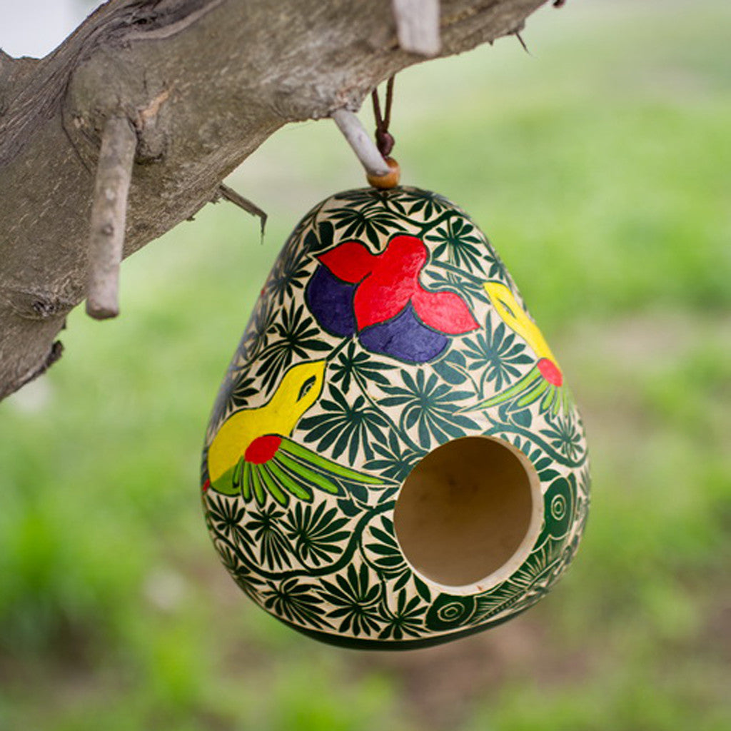 Shaya carved gourd birdhouse, hand painted