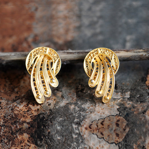 Filigree ribbons 21K gold plated earrings
