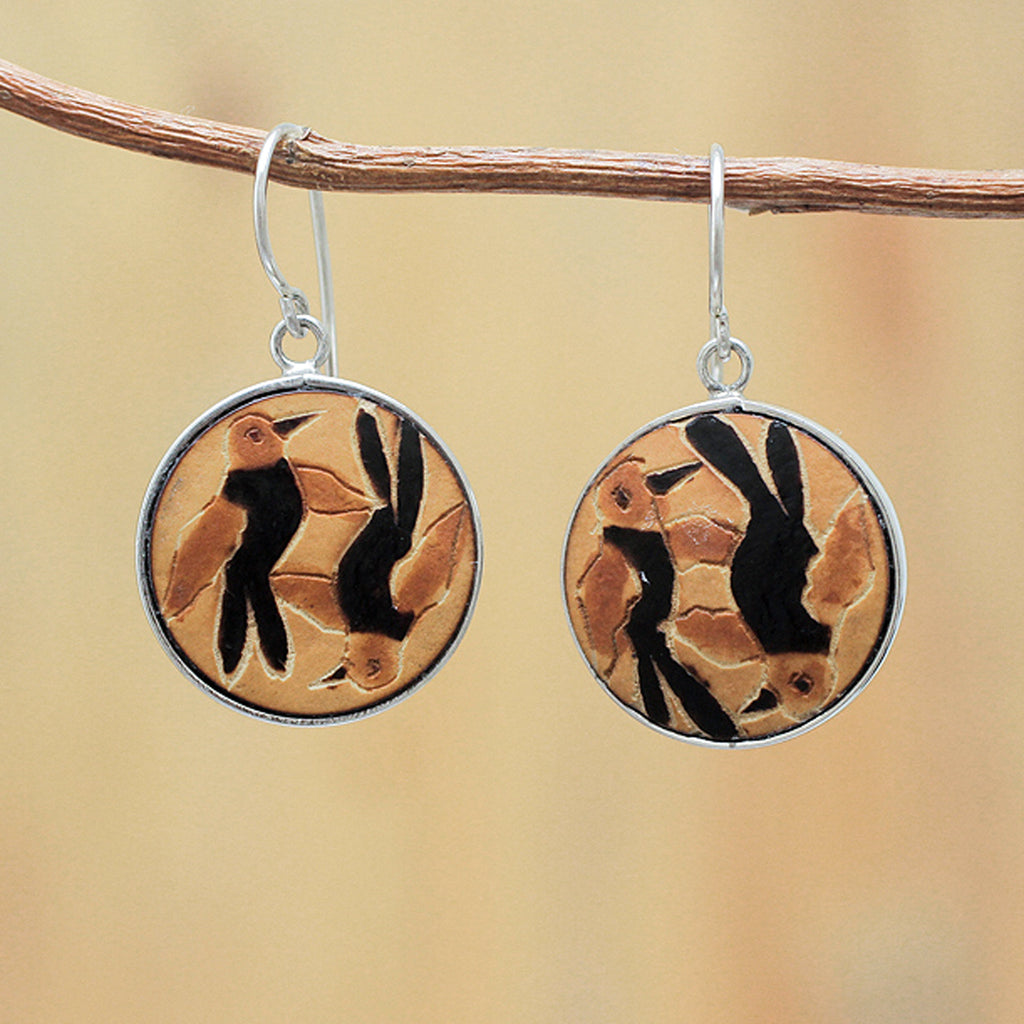 Pajarito hook hand carved bird earrings