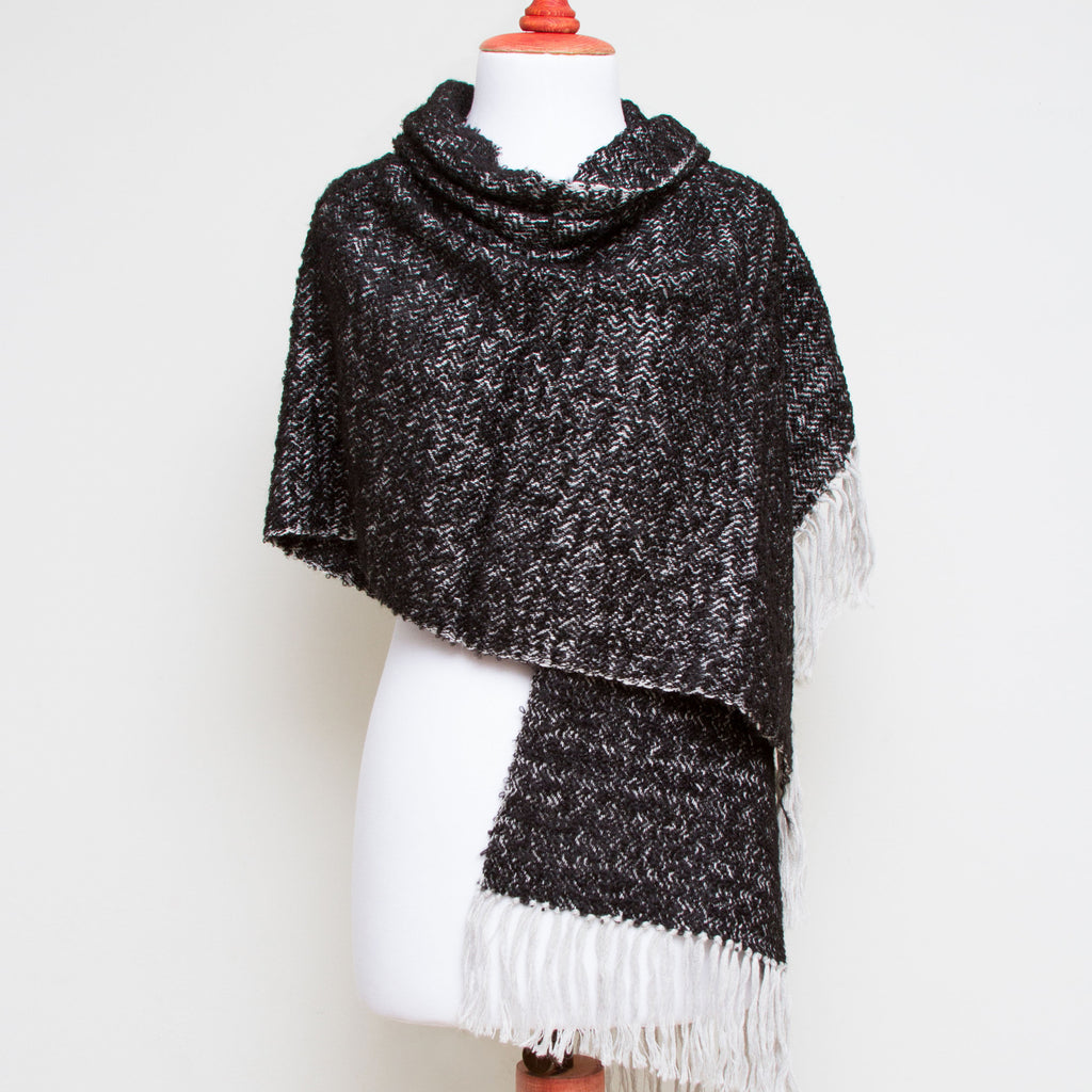 Asiri alpaca boucle handwoven shawl, black & gray