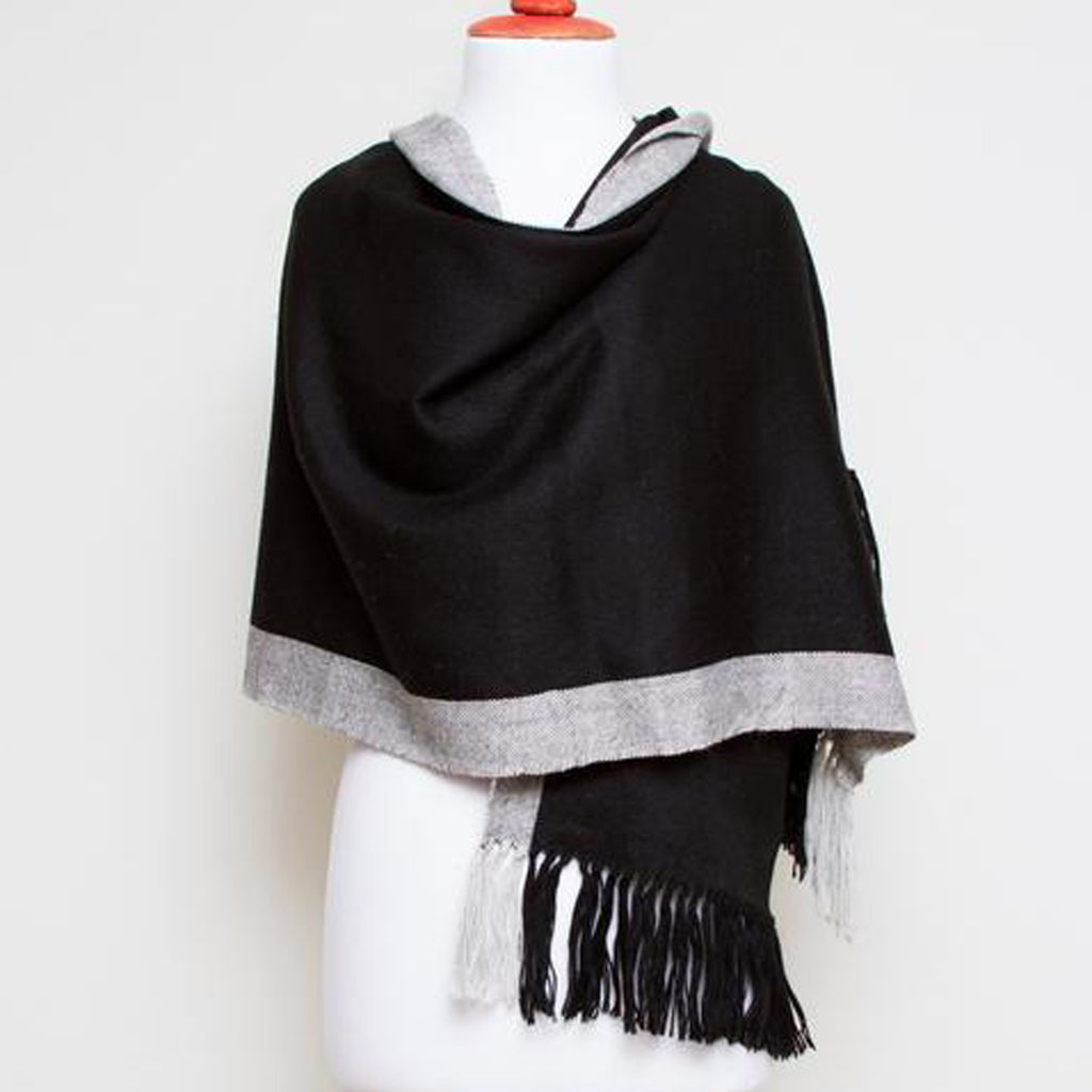 Ingrid alpaca shawl, black & gray