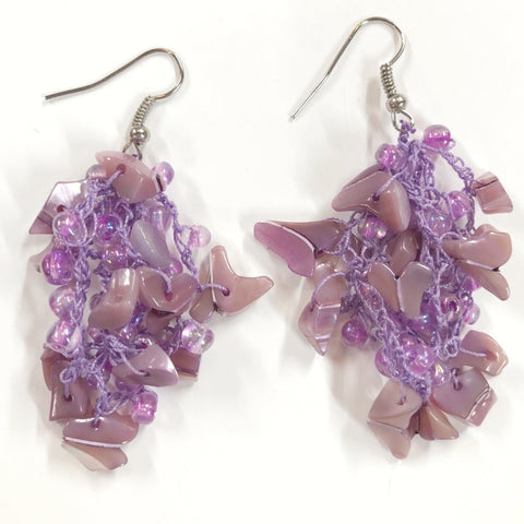 Miramar hand crocheted with mother of pearl violet earrings