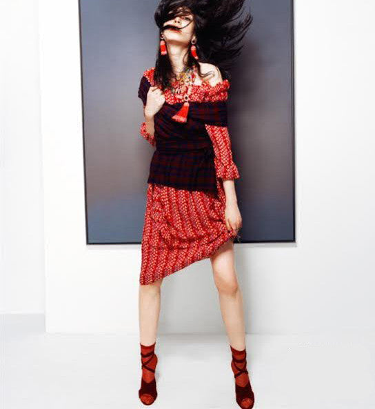 Darner Red Mesh socks featured in BAZAAR