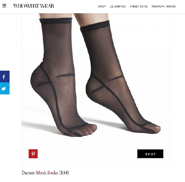 Darner Black socks featured on Who What Wear
