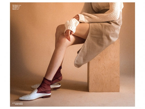 Darner Mesh socks featured in Jute Magazine