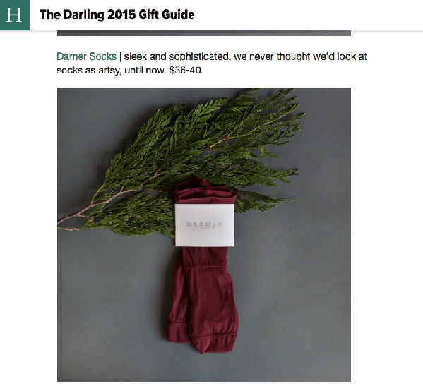Darner red mesh socks featured in Huffington Post via Darling Magazine Holiday Gift Guide