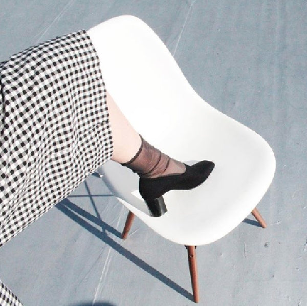 Darner black mesh socks paired with Robert Clergerie shoes.
