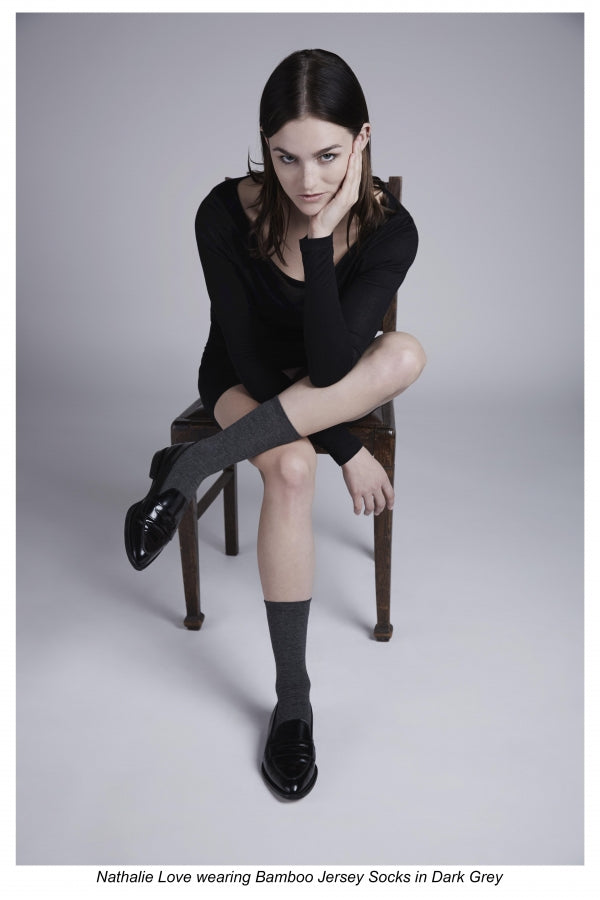 Nathalie Love wearing Darner socks in Darner lookbook campaign.