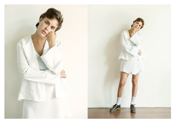 Tallulah Willis in white Darner socks for Scout General lookbook photographed by Daniel Sahlberg.