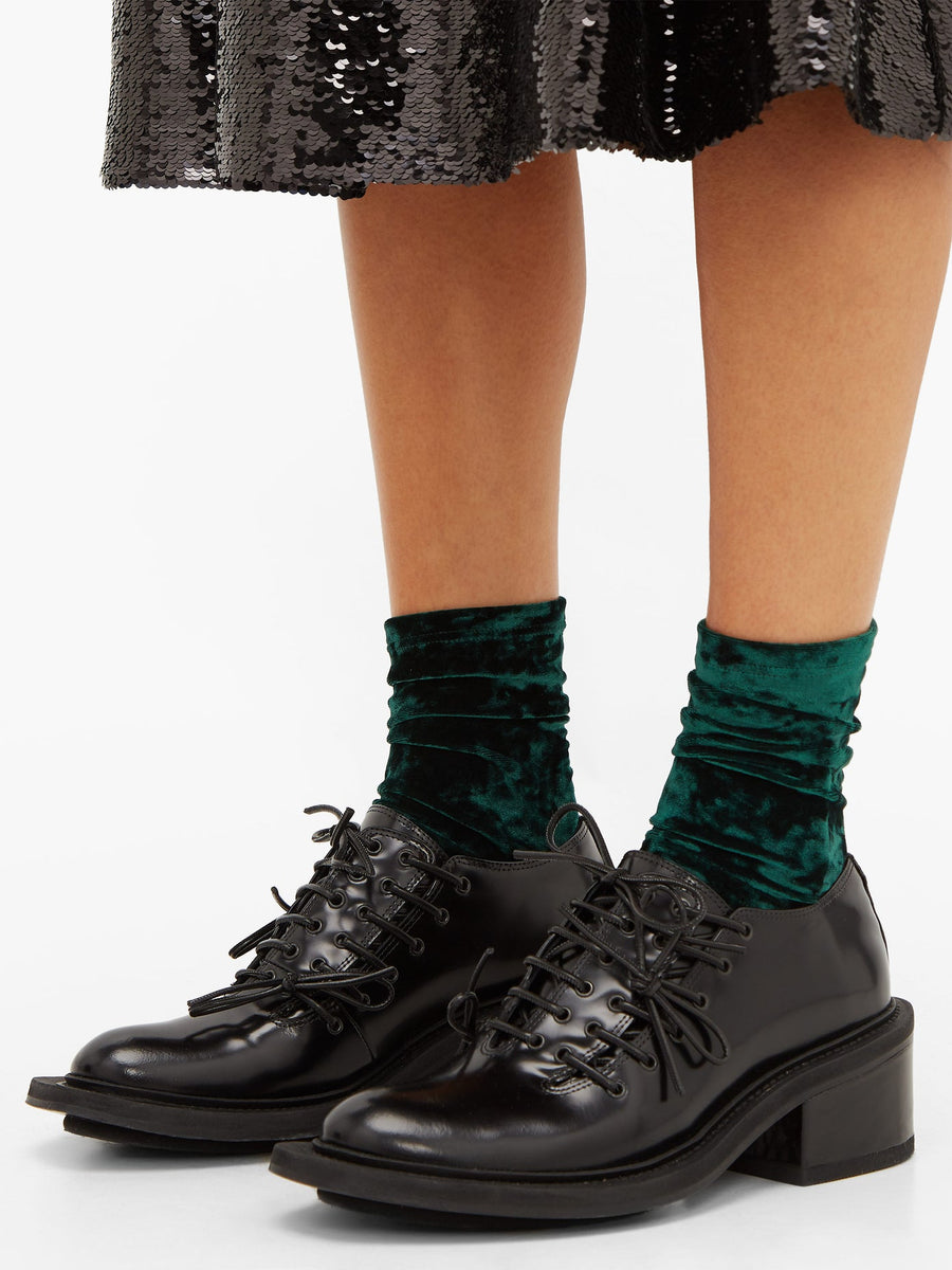 Darner Dark Green Crushed Velvet Socks