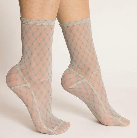Darner Powder Blue Fishnet Mesh Socks - Darner Socks