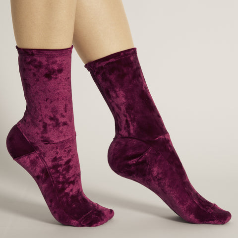 Darner Berry Crushed Velvet Socks - Darner Socks