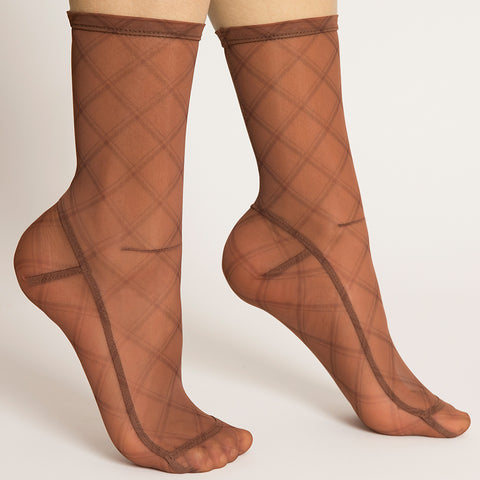 Darner Plaid Fishnet Mesh Socks