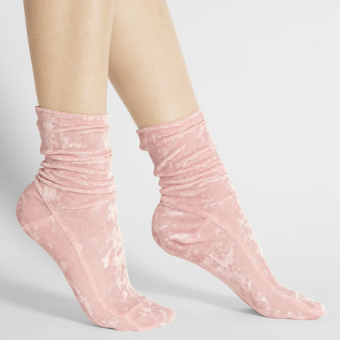 Darner Blush Pink Crushed Velvet socks
