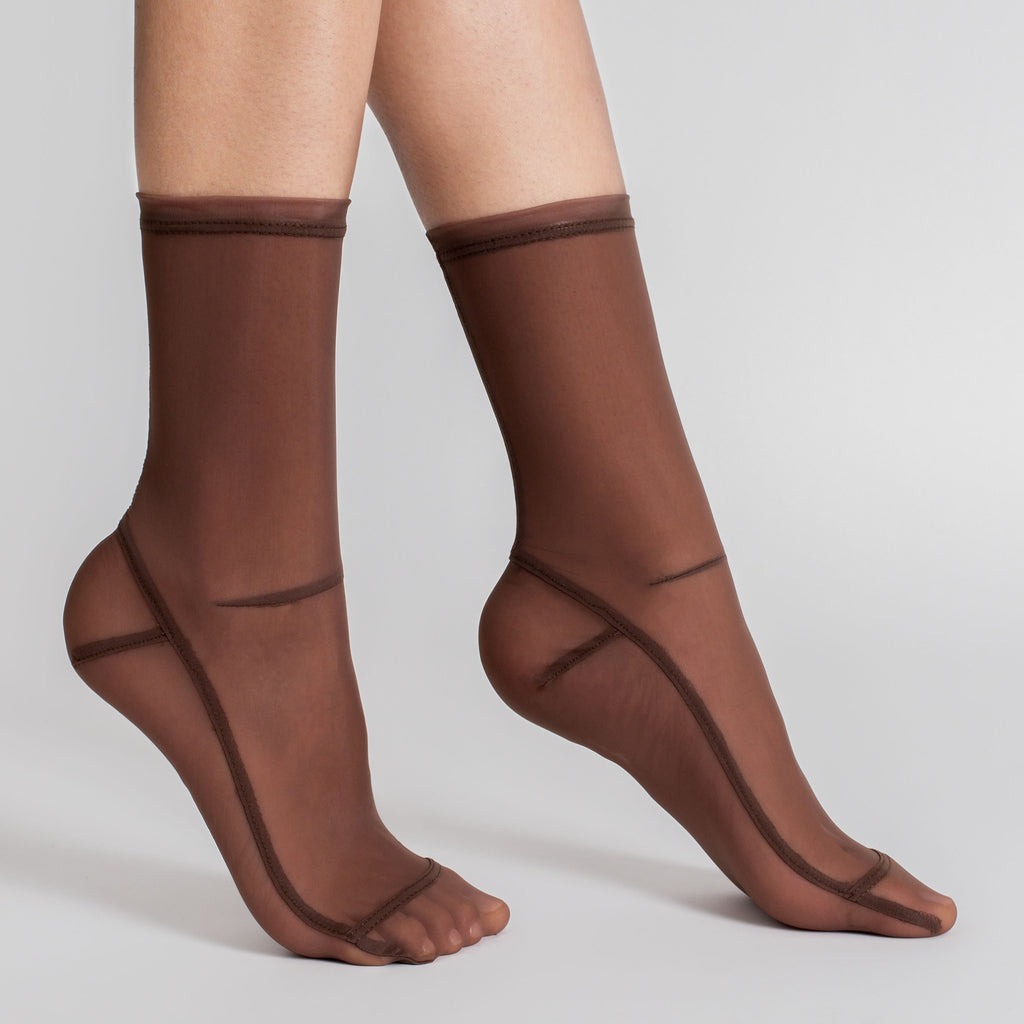 Darner Solid Brown Mocha Mesh Socks